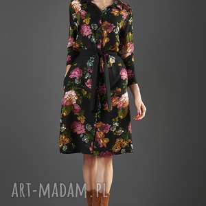 sukienki czarna szmizjerka w kwiaty paloma, sukienka, midi, uniwersalna