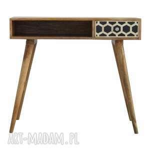 biurko drewno konsola z inkrustowaną szufladą skandynawski styl