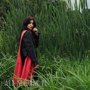 czerwona torba hobo w stylu boho / long boogi bag - do noszenia przez ramię