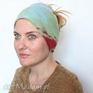 opaska damska na włosy ręcznie farbowana, opaska, włosy, bawełna, wiosna, miękka,
