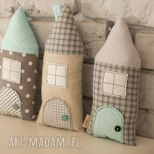 domki dekoracyjne, dekoracje, domki, len, ozdoba
