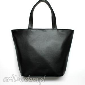 shopper bag łódka - czarna - elegancka, nowoczesna praktyczna, prezent