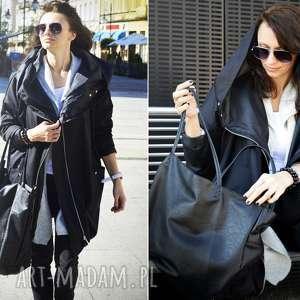 Czarny płaszcz oversize ogromny kaptur na jesień rozmiar XL, kurtka-parka