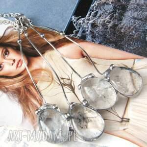 ręcznie wykonane wisiorki naszyjnik: duży wisiorek grono kryształ