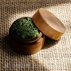 ślub pudełko na obrączki małe, obrączki, drewniane pudełko