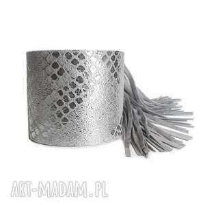 handmade bransoletka skórzana fringe srebrna wężowa