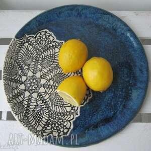patera ceramiczna z koronką, koronkowy, talerz, dekoracyjny, artystyczny, folkowy