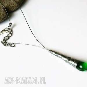 naszyjnik sopel zielony kropla, naszyjnik, sopel, owijany, wraping