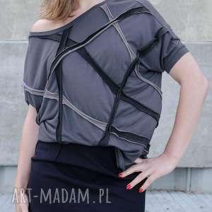 ręcznie zrobione bluzki grafitowa bluzka z aplikacją