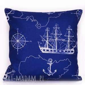 poduszka sea map navy blue 40x40cm od majunto, w statki, marynarska