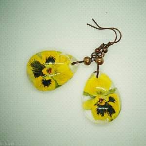 aksinicoffeepainting krople żółtych bratków - kolczyki
