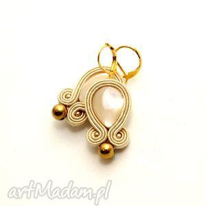 kolczyki sutasz z masą perłową, sznurek, perła, ecru, kremowe, ivory, eleganckie