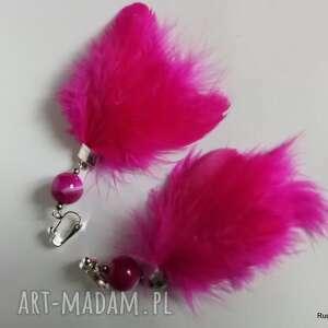 klipsy pióra różowe duże-box x1- polecam pojedyncza sztuka, pióra, lekkie, folk