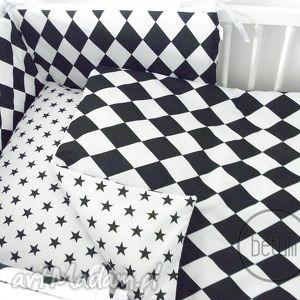 ręcznie zrobione pokoik dziecka pościel 100x135 romby czarno biała 100% bawełna