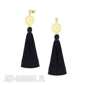 ręcznie wykonane kolczyki długie kolczyki z czarnym chwostem - boho