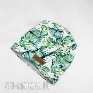 czapka beanie liście zielone unisex, czapka, beanie, liście, ciepła, kolorowa