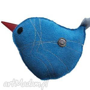 niebieski ptak 2 - broszka, ptak, srebzysty, kropka, niebieski, turkusowy