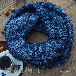 hand made kominy komin melanżowy niebieski