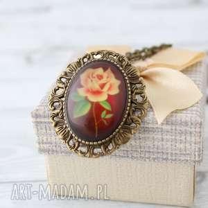 Antyczna Róża Broszka - Wisior 2w1, boho, wisiorek, broszka, szkło, grafika, 2w1