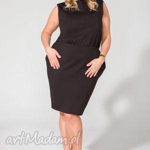 sukienka t132 czarny size plus, sukienka, dzianina, elagancka, kieszenie, ściągnięta