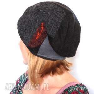 Czapka damska patchworkowa ciepła czapki ruda klara czapka, boho