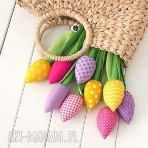dekoracje tulipany kolorowy bawełniany bukiet, tulipany, kwiaty, bawełniane
