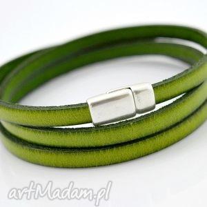 bransoletka skórzana magnetoos triple greeny, bransoletka, skóra, potrójna