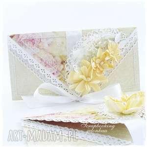 Kopertówka ślubna, ślub, kopertówka, koronka, wstążka, kwiaty, pamiątka