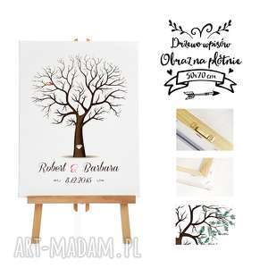 Obraz na płótnie - drzewo wpisów a la księga gości ślub, wesele- 50x70 cm, ślub