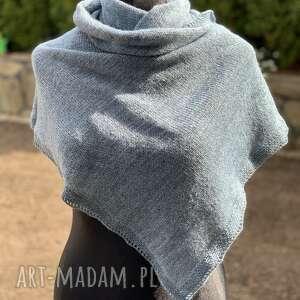elegancki, delikatny szal turkusowo szary melanż nitkowe love 50x200 cm, chusta