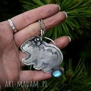 górski naszyjnik z niedźwiedzim, góry, srebro, tatromanik, niedźwiedź, miłośnik