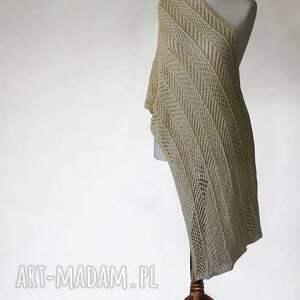 zŁoty aŻurowy szal - szal, ażurowy, dzianina, handmade, knitwearfactory