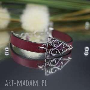 bransoletka skórzana scarlet 2, bransoletka, wire wrapping, skóra natualna