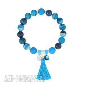 lavoga bransoletka z agatów z chwostem - boho - niebieskie, bransoletka agat