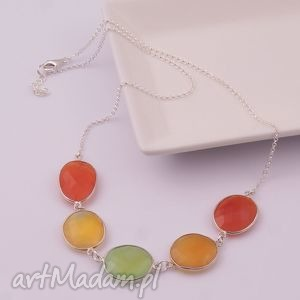 Oranżada, wiosenny naszyjnik z chalcedonu, kolorowy, naszyjnik, chalcedon, wiosna