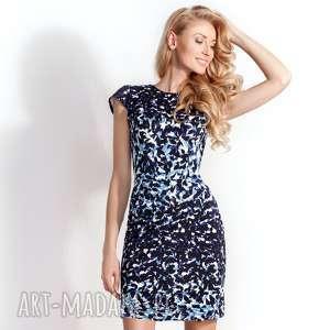 Sukienka Ołówkowa Sara Granatowo-Niebieska, dzianinowa-sukienka, ołówkowa-sukienka