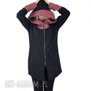 Bluza Saloni Long z kapturem , bluza-damska, z-kapturem, na-zamek, czarna, płaszcz,