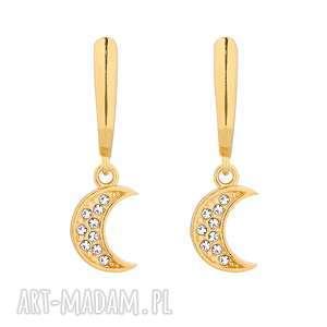 sotho złote kolczyki z księżycami swarovski® crystal