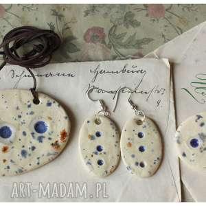 hand-made wisiorki zestaw biżuterii nakrapianej w owalu