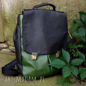 plecaki lilith chimera plecak/torba skóra czerń/zieleń, plecak, torba, kobiecy