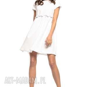 Sukienka marszczona pod biustem, T266, biały, urocza, pod