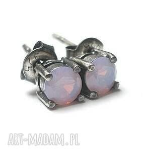Kropeczki - violet opal, srebro, cyrkonie, drobne, sztyfty