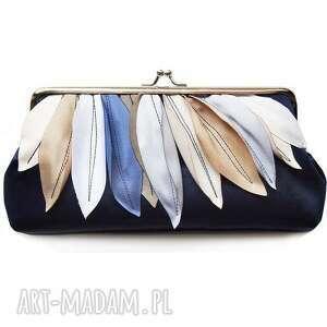 do ręki navy with beige, handbag, kopertówka, ślub, świąteczny prezent