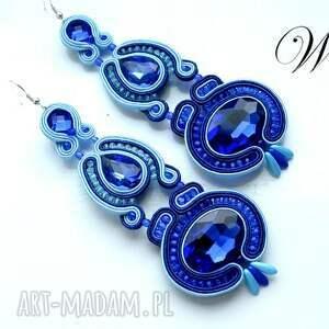 kolczyki sutasz kobaltowo niebieskie, sutasz, kolczyki, eleganckie, modne, długie