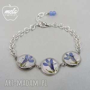 handmade bransoletki 0512~mela bransoletka metalowa z kwiatami w żywicy