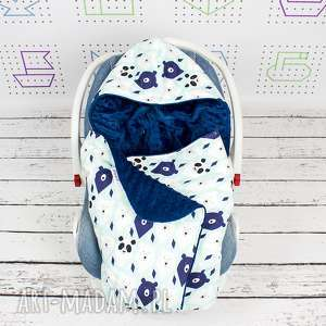 kocyk do nosidła samochodowego misie pm blue, kocyk, minky, fotelik, podróż, niemowlę