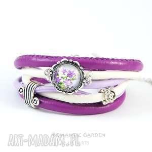 bransoletka - fioletowy kwiat owijana, rzemienie, bransoletka, rzemienie