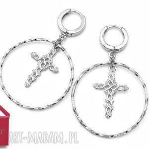 srebrne kolczyki koła z obręczami i krzyżem, srebrne, kolczyki, koła, krzyże