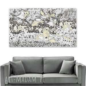 obraz grafika na ścianę, żurawie, 70 x 40, nowoczesny ścianę