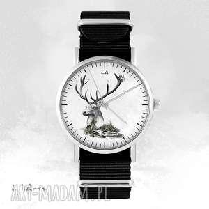 zegarki zegarek - jeleń czarny, nato, unisex, zegarek, bransoletka, nato